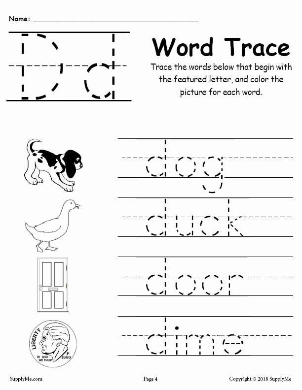 Letter D Tracing Worksheets for Preschoolers New Letter D Words Alphabet Tracing Worksheet