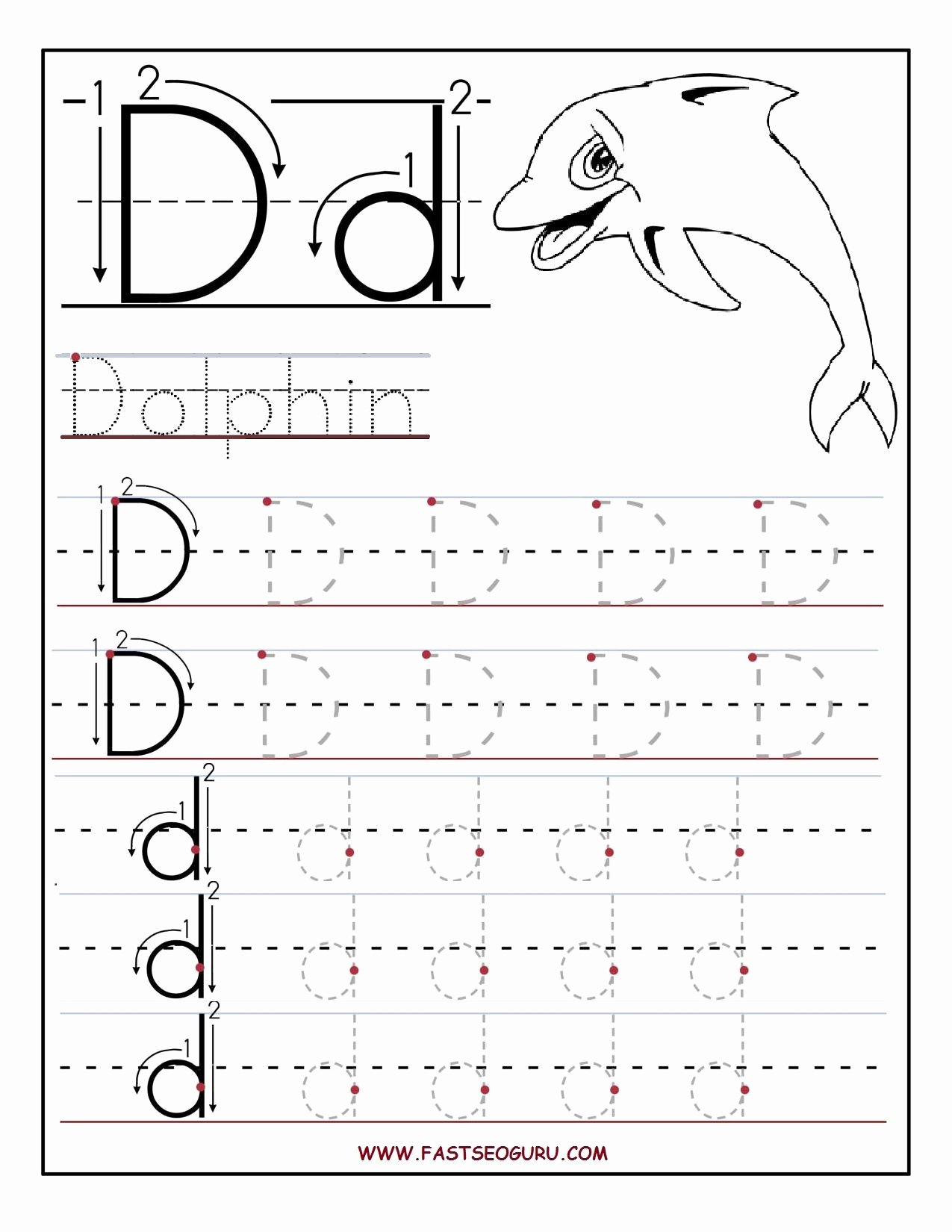 Letter D Tracing Worksheets for Preschoolers Printable Preschool Alphabet Worksheets Printables Printable Letter A
