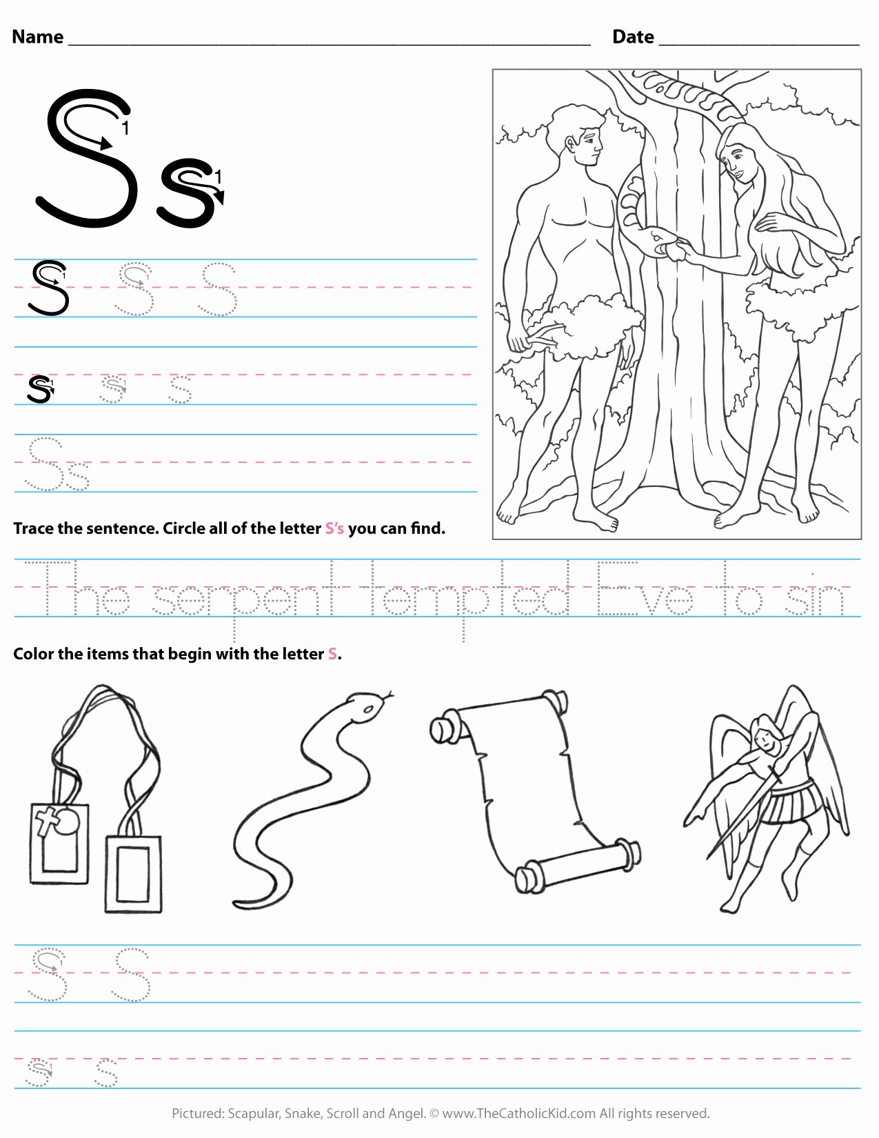 Letter I Worksheets for Preschoolers top Catholic Alphabet Letter Worksheet Preschool Kindergarten