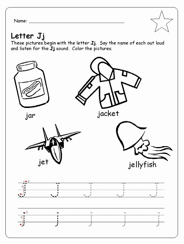 Letter J Worksheets for Preschoolers Lovely Letter J Worksheet for Kindergarten Preschool and 1 St Grade