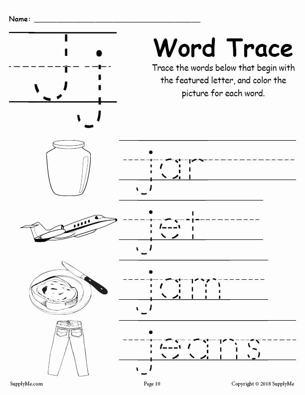 Letter J Worksheets for Preschoolers Printable Letter J Words Alphabet Tracing Worksheet