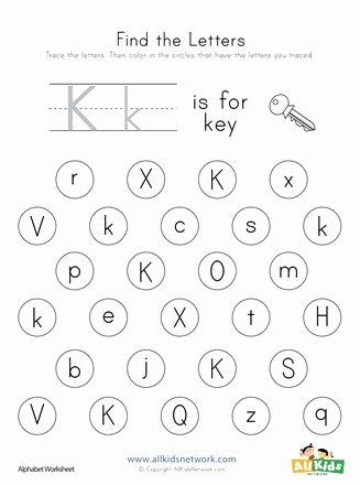 Letter K Worksheets for Preschoolers Best Of Find the Letter K Worksheet