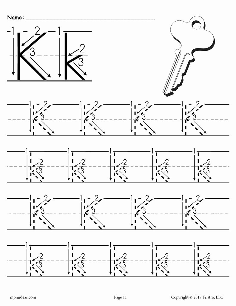 Letter K Worksheets for Preschoolers Fresh Printable Letter K Tracing Worksheet with Number and Arrow Guides
