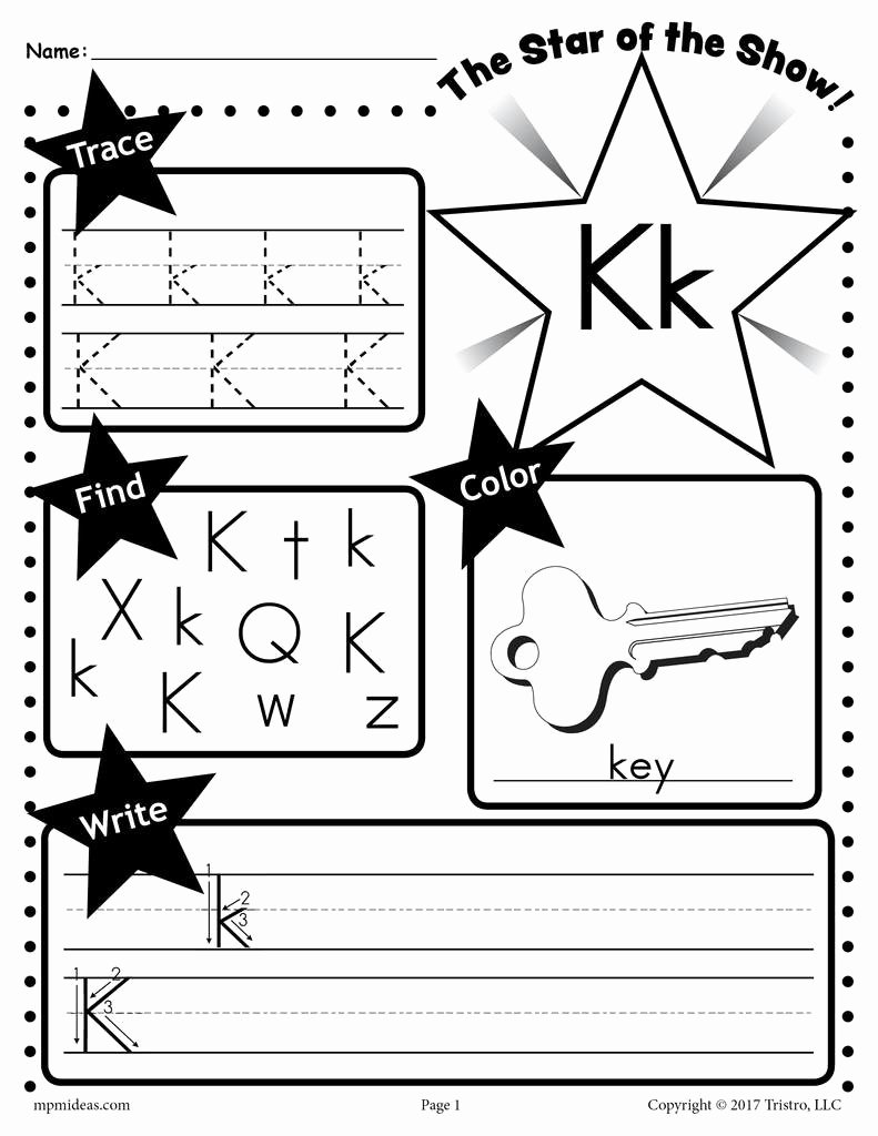 Letter K Worksheets for Preschoolers Kids Letter K Worksheet Tracing Coloring Writing & More