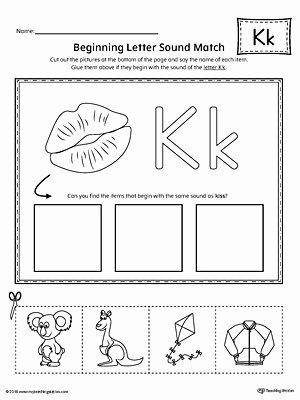Letter K Worksheets for Preschoolers Printable Worksheet Letter K Beginning sound Picture Match Worksheet