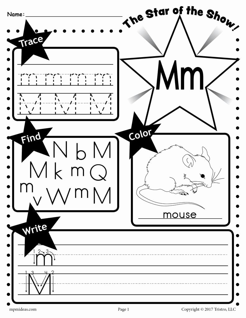 Letter M Worksheets for Preschoolers top Letter M Worksheet Tracing Coloring Writing & More