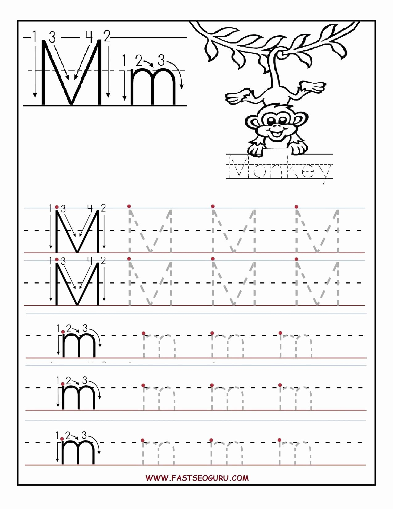 Letter M Worksheets for Preschoolers top Printable Letter M Tracing Worksheets for Preschool