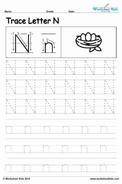Letter N Worksheets for Preschoolers Ideas Letter N Alphabet Tracing Worksheets Free Printable Pdf