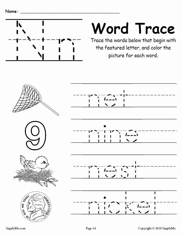 Letter N Worksheets for Preschoolers Ideas Letter N Words Alphabet Tracing Worksheet