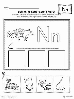 Letter N Worksheets for Preschoolers Printable Letter N Beginning sound Picture Match Worksheet