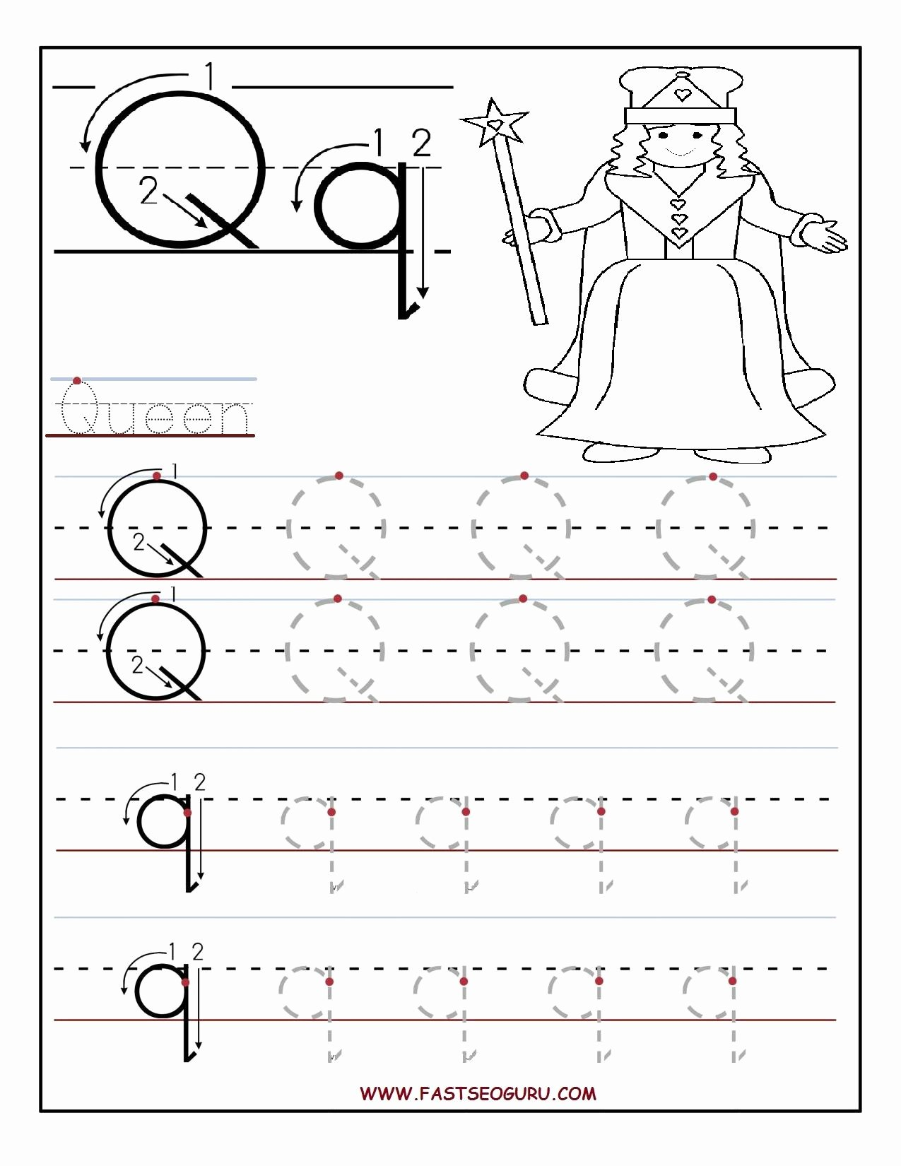Letter Q Worksheets for Preschoolers Ideas Printable Letter Q Tracing Worksheets for Preschool