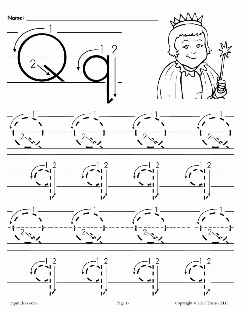 Letter Q Worksheets for Preschoolers Lovely Printable Letter Q Tracing Worksheet with Number and Arrow Guides