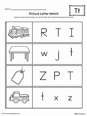 Letter T Worksheets for Preschoolers Free Picture Letter Match Letter T Worksheet