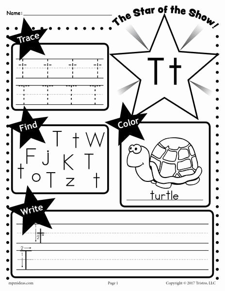 Letter T Worksheets for Preschoolers Kids Letter T Worksheet Tracing Coloring Writing & More