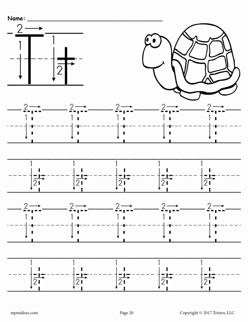 Letter T Worksheets for Preschoolers Lovely Printable Letter T Tracing Worksheet with Number and Arrow Guides