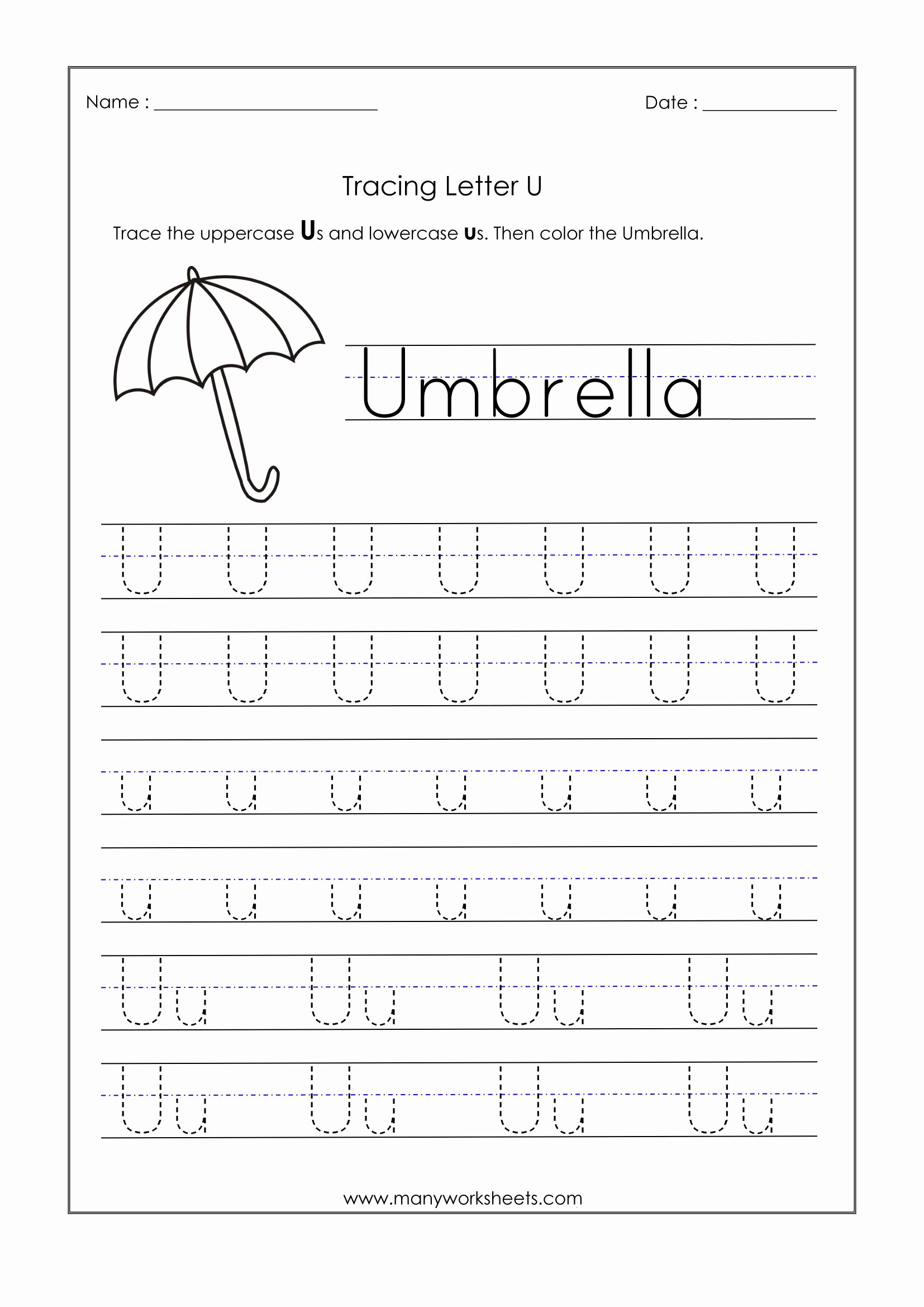 Letter U Worksheets for Preschoolers Kids Letter Worksheets for Kindergarten Trace Dotted Letters Pre