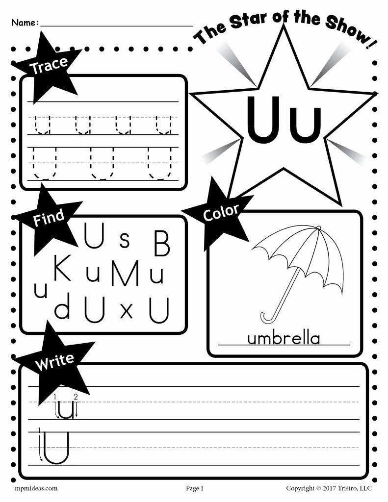 Letter U Worksheets for Preschoolers top Letter U Worksheet Tracing Coloring Writing & More