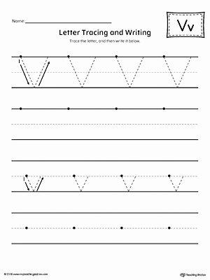 Letter V Worksheets for Preschoolers Printable Letter V Tracing and Writing Printable Worksheet