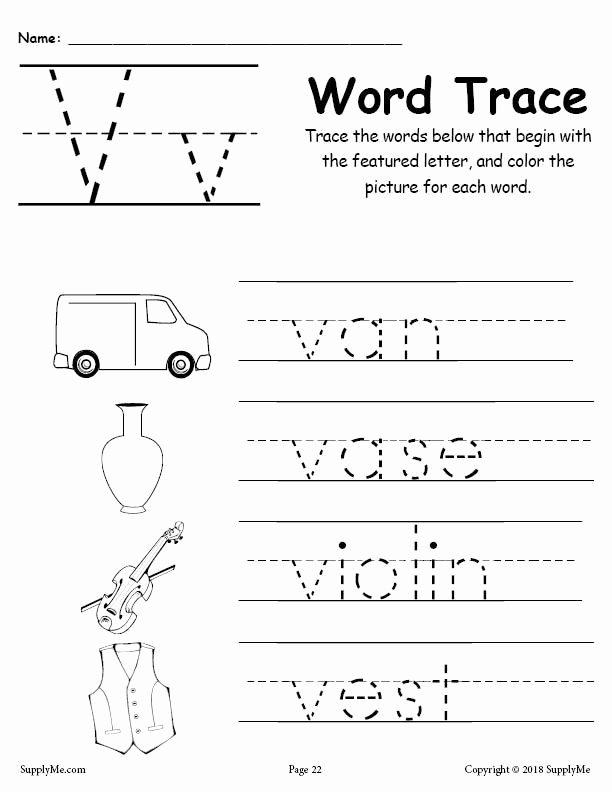 Letter V Worksheets for Preschoolers top Letter V Words Alphabet Tracing Worksheet
