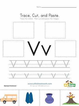 Letter V Worksheets for Preschoolers top Trace Cut and Paste Letter V Worksheet