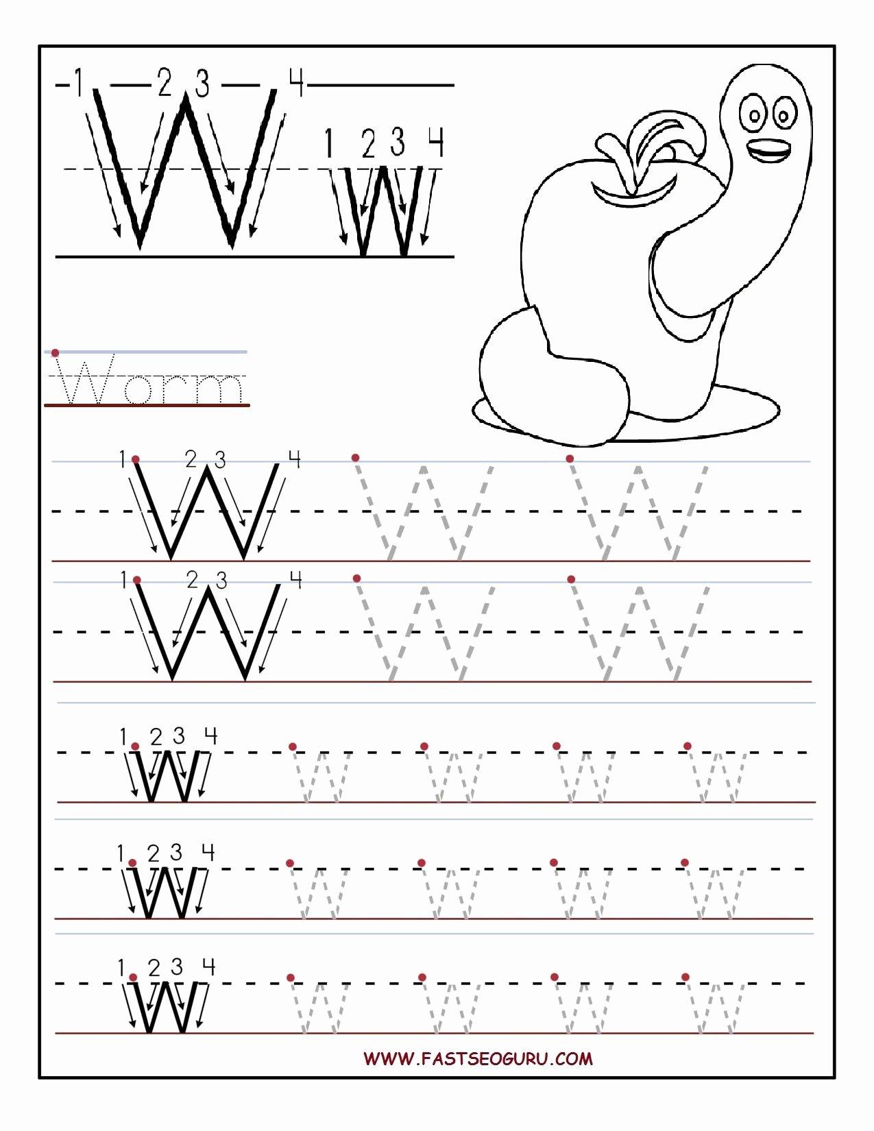 Letter W Worksheets for Preschoolers Ideas Printable Letter W Tracing Worksheets for Preschool