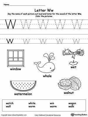 Letter W Worksheets for Preschoolers Lovely Free Words Starting with Letter W Worksheet Teach the