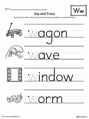 Letter W Worksheets for Preschoolers Lovely Say and Trace Letter W Beginning sound Words Worksheet