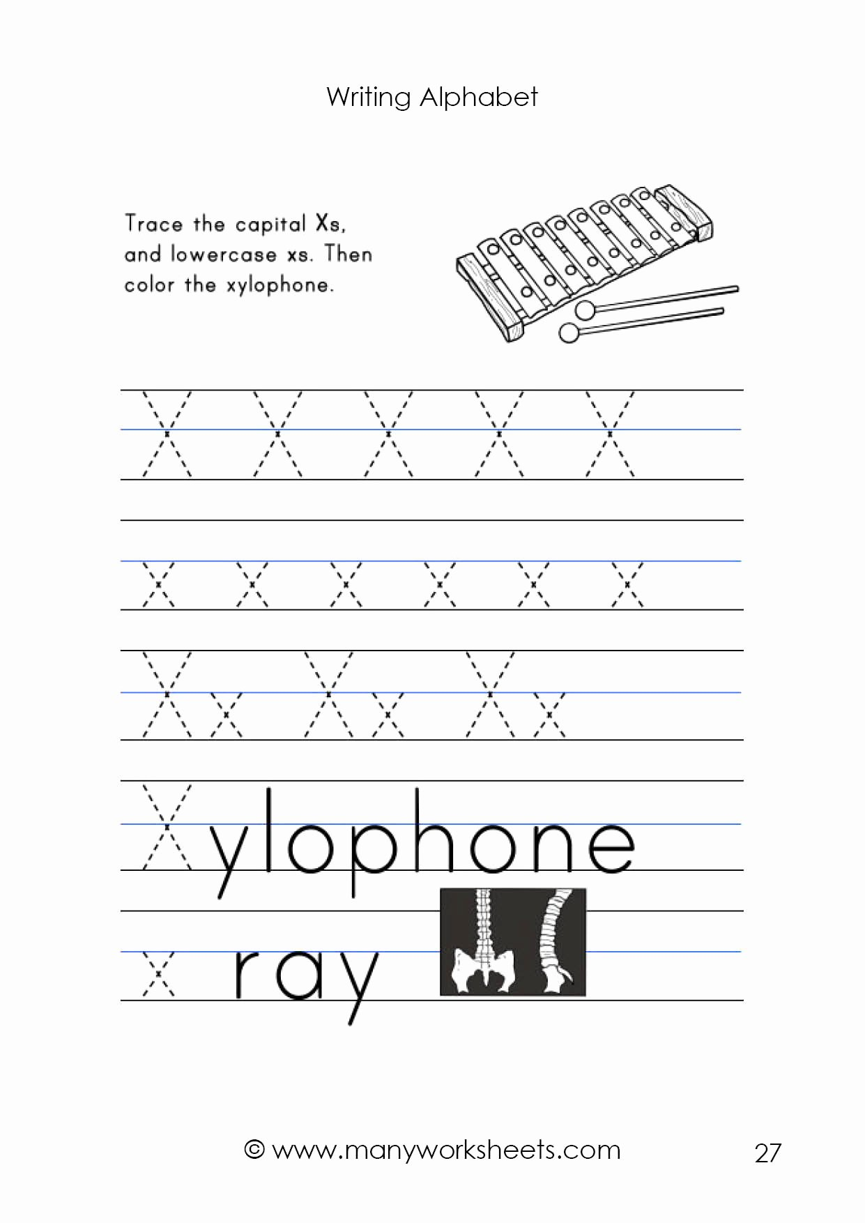 Letter X Worksheets for Preschoolers Kids Letter X Worksheet – Tracing and Handwriting