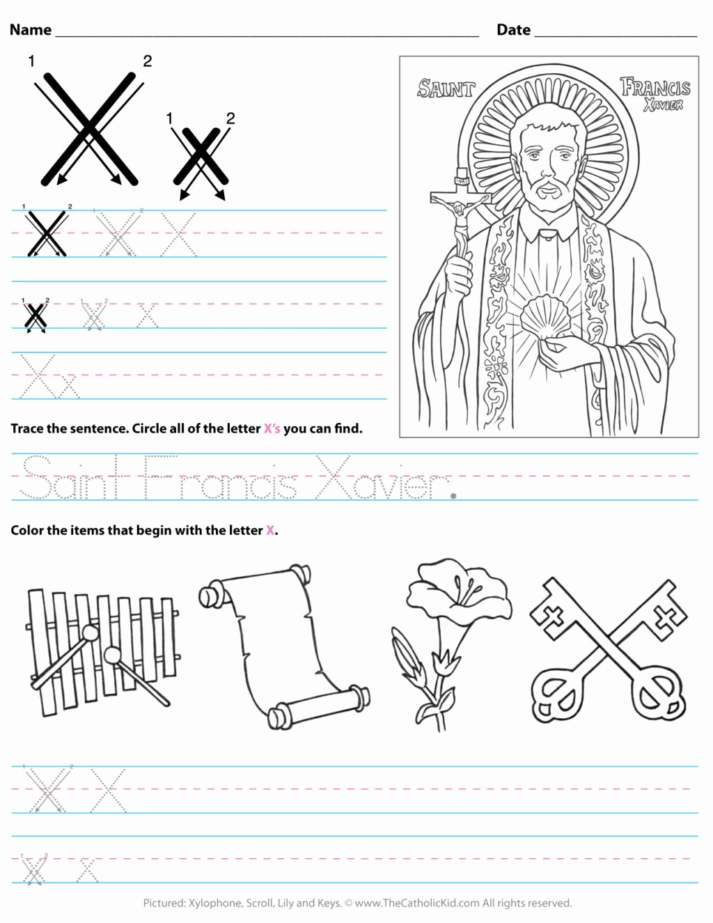 Letter X Worksheets for Preschoolers New Worksheet Catholic Alphabet Letter X Worksheet