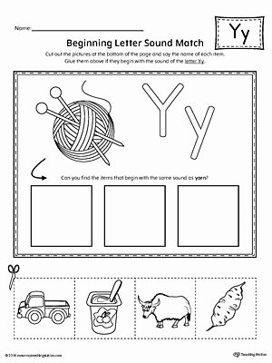 Letter Y Worksheets for Preschoolers Fresh Letter Y Beginning sound Picture Match Worksheet