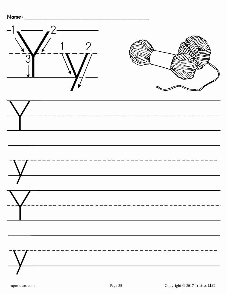 Letter Y Worksheets for Preschoolers Fresh Printable Letter Y Handwriting Worksheet