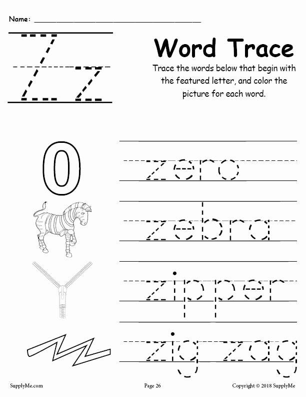Letter Z Worksheets for Preschoolers Printable Letter Z Words Alphabet Tracing Worksheet