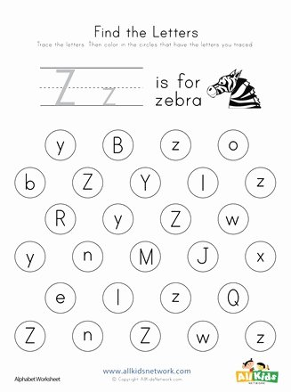 Letter Z Worksheets for Preschoolers top Find the Letter Z Worksheet