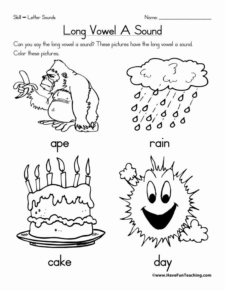Long Vowels Worksheets for Preschoolers Free Long Vowel A Worksheet