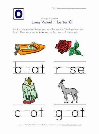 Long Vowels Worksheets for Preschoolers Ideas Long Vowel O Worksheet