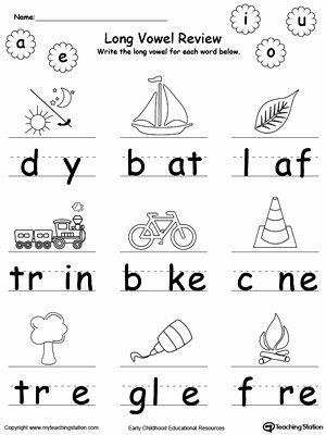 Long Vowels Worksheets for Preschoolers Ideas Long Vowel Review Write Missing Vowel