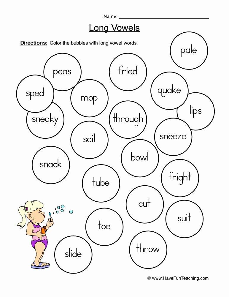 Long Vowels Worksheets for Preschoolers Kids Long Vowels Coloring Worksheet