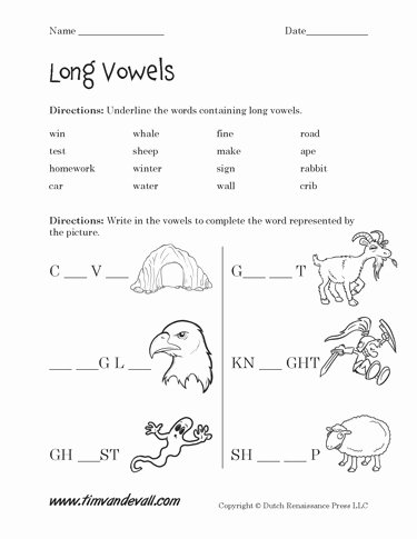 Long Vowels Worksheets for Preschoolers Lovely Free Long Vowel Worksheets