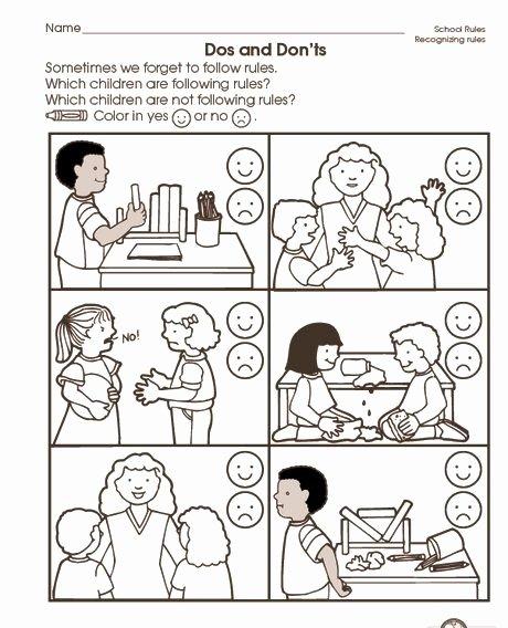 Manners Worksheets for Preschoolers Free School Rules Worksheet 2