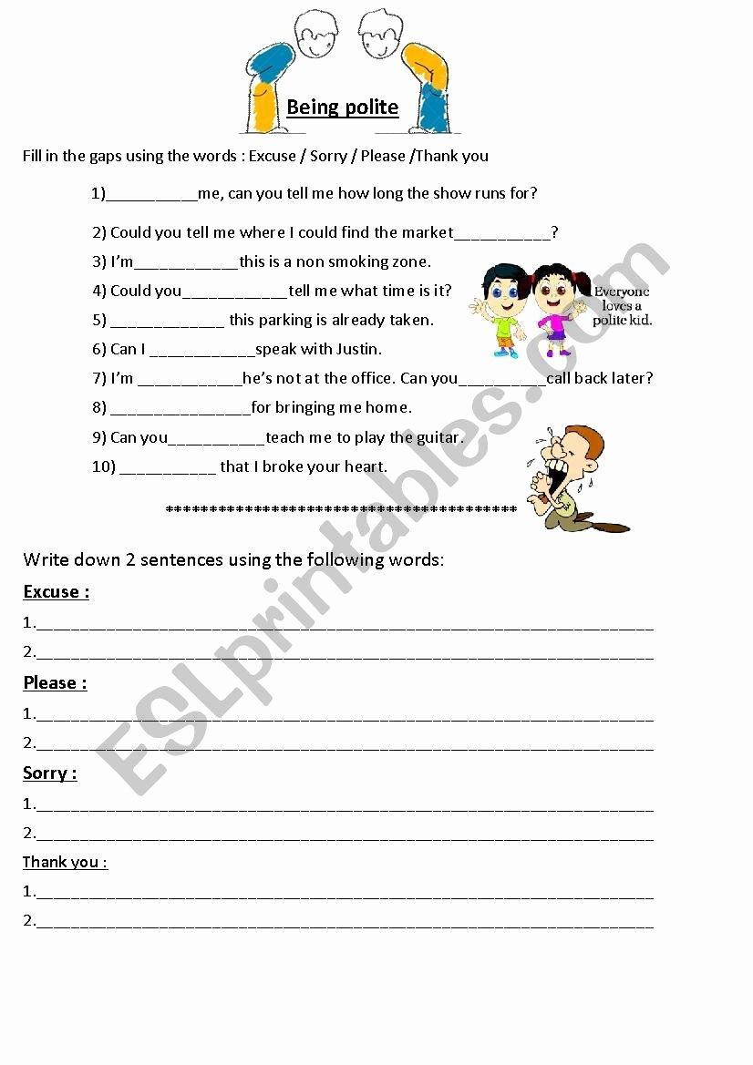 Manners Worksheets for Preschoolers Fresh Polite Expressions Manners Esl Worksheet by Jasonesl