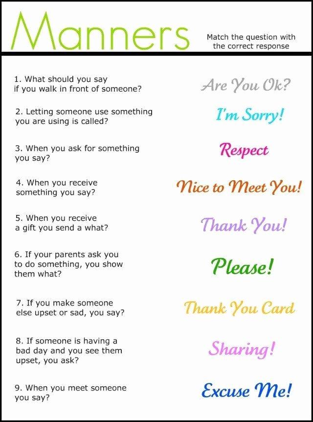 Manners Worksheets for Preschoolers Kids Manners Worksheets for Kindergarten Manners Match It Up