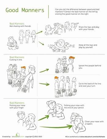 Manners Worksheets for Preschoolers Printable Good Manners