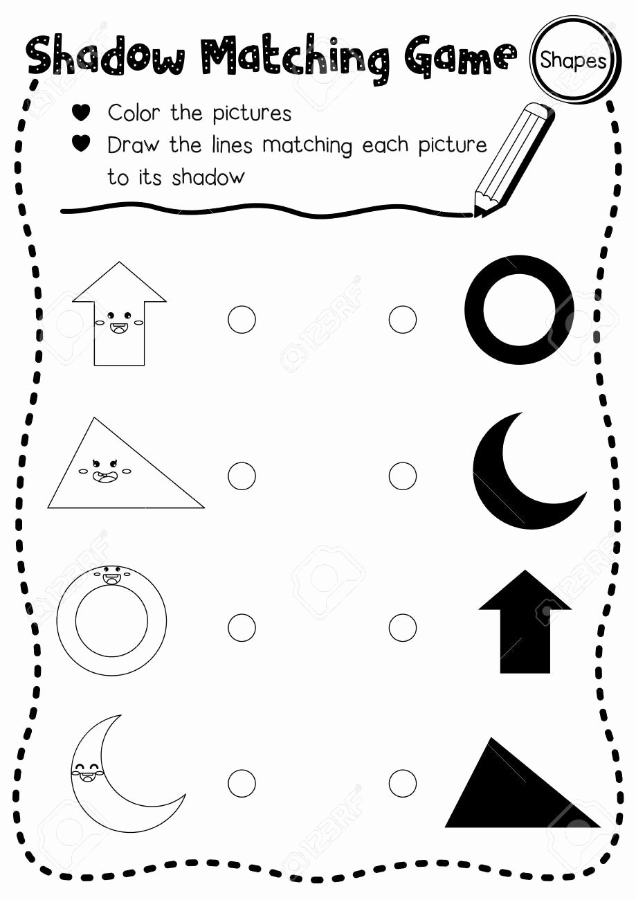 Matching Game Worksheets for Preschoolers Free Shadow Matching Game Of Shapes for Preschool Kids Activity Worksheet