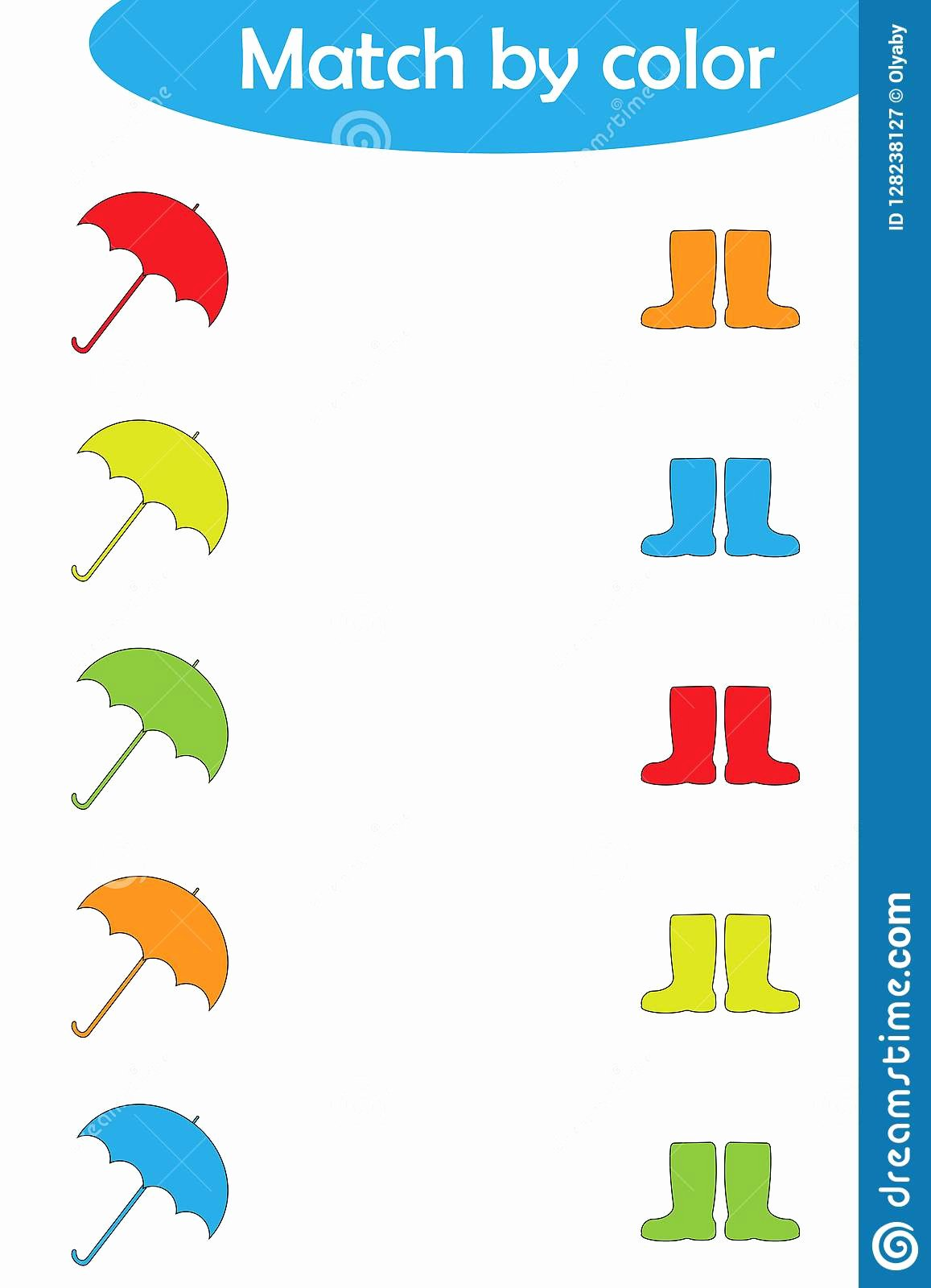 Matching Game Worksheets for Preschoolers Fresh Matching Game for Children Connect Umbrellas and Boots by