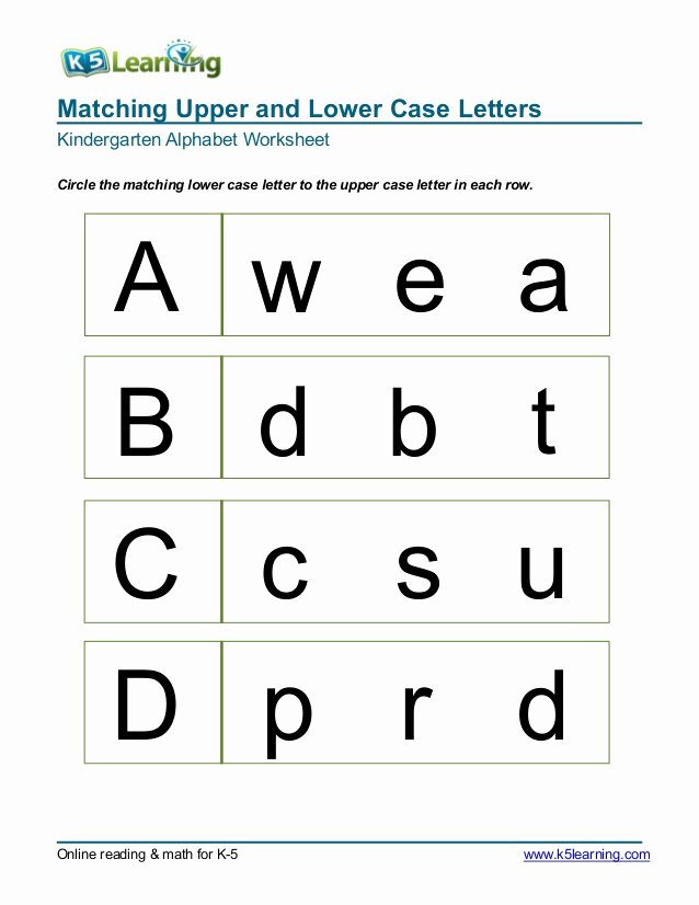 Matching Letters Worksheets for Preschoolers Fresh Kindergarten Matching Letters A B C D