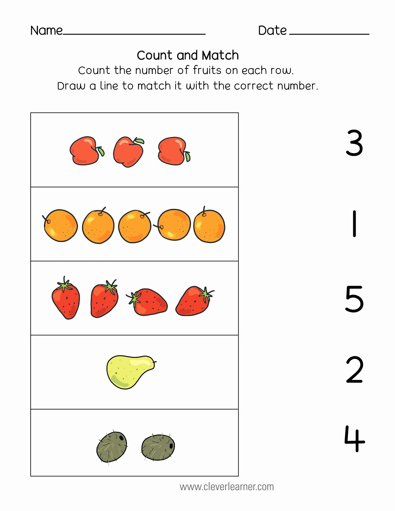 Matching Numbers Worksheets for Preschoolers Free Number Matching Counting and Number Writing Worksheets