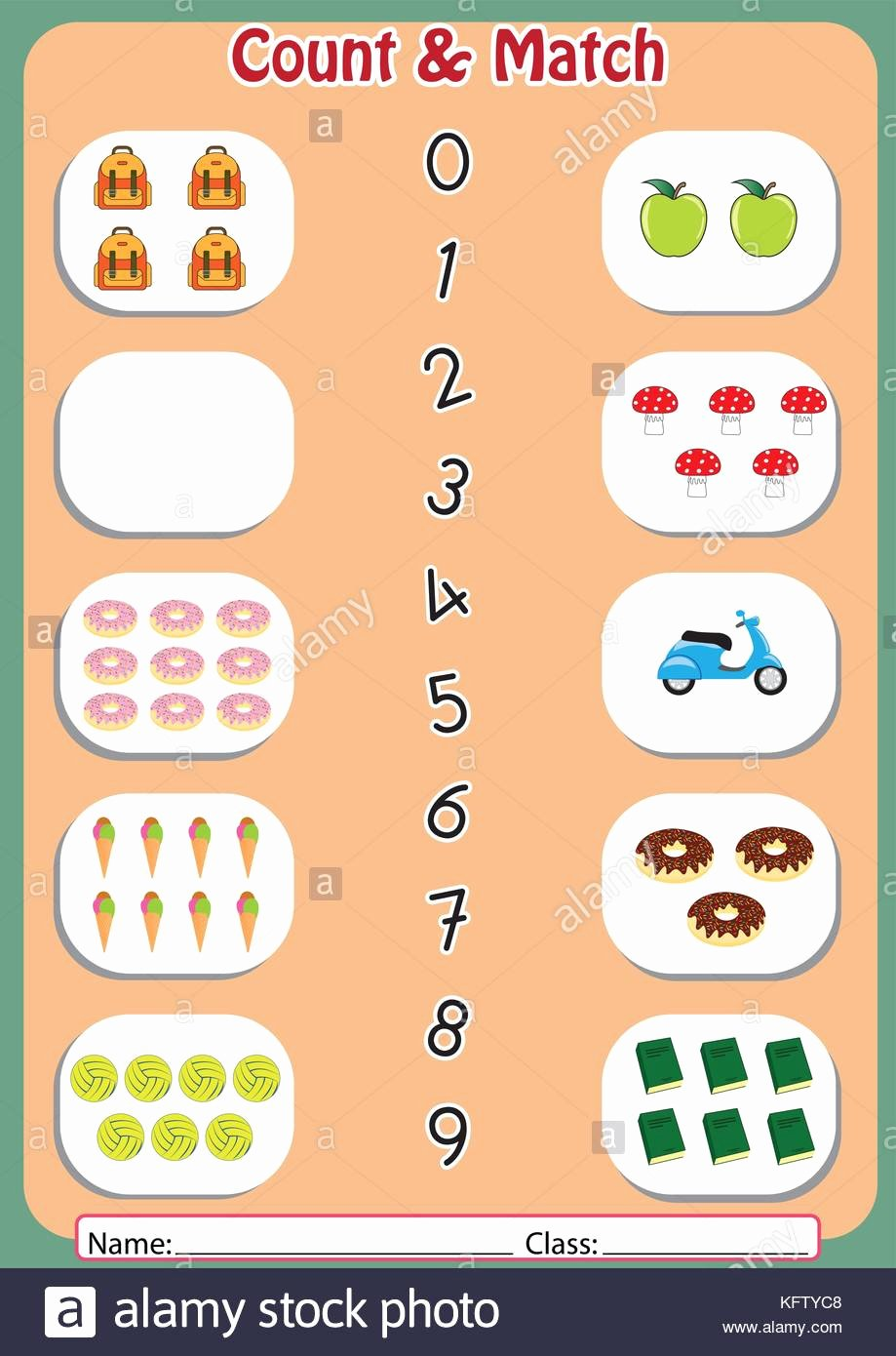 Matching Numbers Worksheets for Preschoolers Inspirational Match the Numbers to Objects Worksheet for Preschool Stock