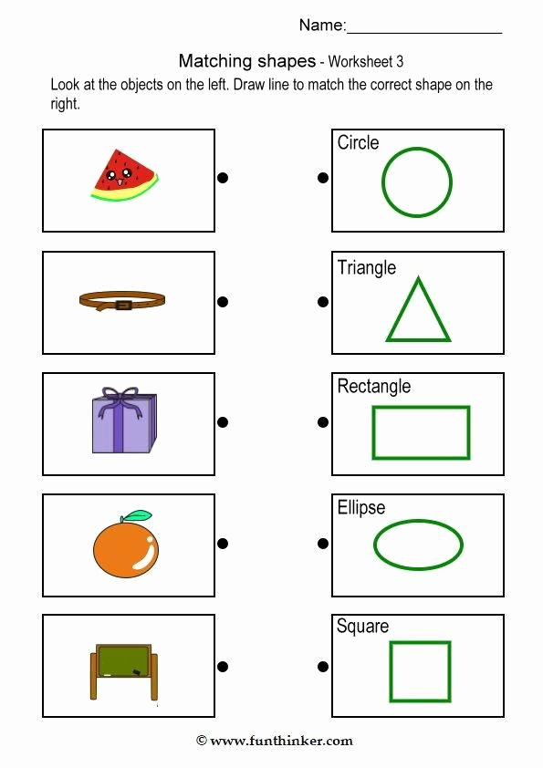 Matching Objects Worksheets for Preschoolers top Matching Object with Shape Brain Teaser Worksheets 3