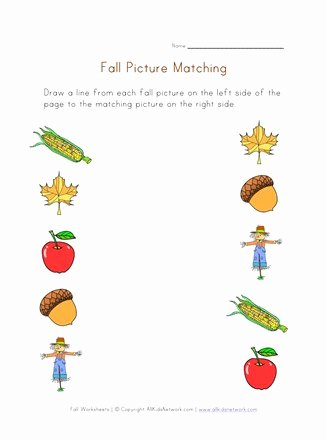 Matching Pictures Worksheets for Preschoolers Kids Fall Picture Matching Printable
