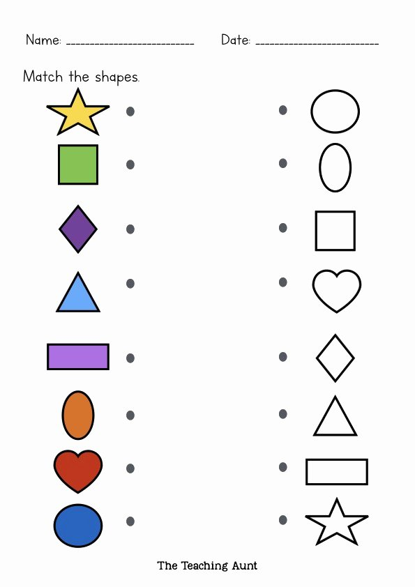 Matching Shapes Worksheets for Preschoolers Inspirational Matching Shapes Worksheets the Teaching Aunt Free Printable